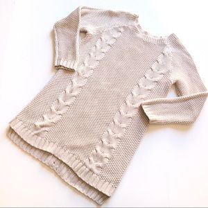 Cynthia Rowley Tan Cable Knit Braid Front Sweater